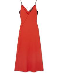 Robe drapée en laine rouge Roland Mouret