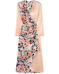 Robe drapée en satin à fleurs rose RIXO