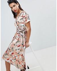 Robe drapée en satin à fleurs rose Vila