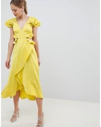 Robe drapée en satin à volants jaune ASOS DESIGN