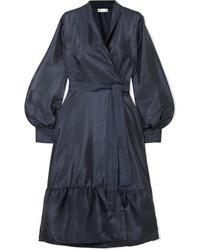 Robe drapée en satin bleu marine Stine Goya