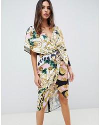 Robe drapée en satin imprimée multicolore ASOS DESIGN