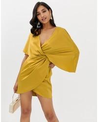 Robe drapée en satin jaune ASOS DESIGN