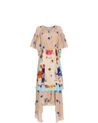 Robe drapée en soie à fleurs marron clair Natasha Zinko