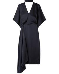 Robe drapée en soie bleu marine Roland Mouret