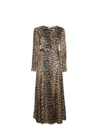 Robe drapée en soie imprimée léopard marron Ganni