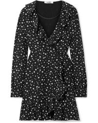 Robe drapée en soie imprimée noire Miu Miu