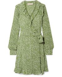 Robe drapée en soie imprimée olive MICHAEL Michael Kors