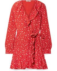 Robe drapée en soie imprimée rouge Miu Miu