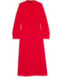 Robe drapée en soie rouge Joseph