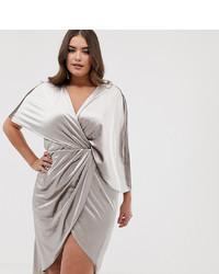Robe drapée en velours argentée Asos Curve