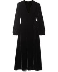 Robe drapée en velours noire Les Rêveries