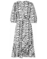 Robe drapée imprimée blanche RIXO