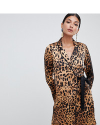 Robe drapée imprimée léopard marron clair Missguided Tall