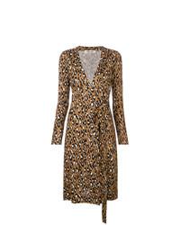 Robe drapée imprimée léopard marron Dvf Diane Von Furstenberg