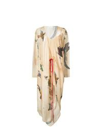 Robe drapée imprimée marron clair Vionnet