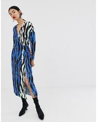 Robe drapée imprimée multicolore ASOS WHITE