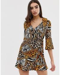 Robe drapée imprimée multicolore Outrageous Fortune
