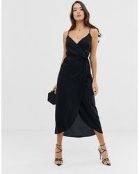 Robe drapée noire ASOS DESIGN