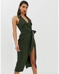 Robe drapée olive ASOS DESIGN