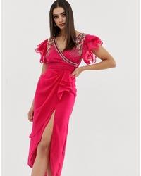Robe drapée ornée fuchsia Virgos Lounge