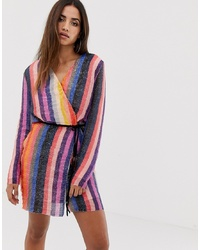 Robe drapée pailletée à rayures verticales multicolore Club L London
