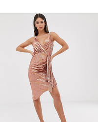 Robe drapée pailletée rose TFNC Tall
