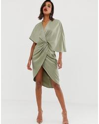 Robe drapée vert menthe ASOS DESIGN