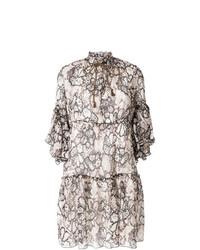Robe droite à fleurs blanche et noire See by Chloe