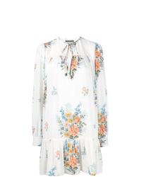 Robe droite à fleurs blanche Alexander McQueen