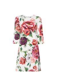 Robe droite à fleurs blanche Dolce & Gabbana