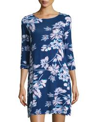 Robe droite à fleurs bleu marine