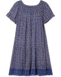 Robe droite à fleurs bleue Tory Burch