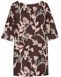 Robe droite à fleurs bordeaux
