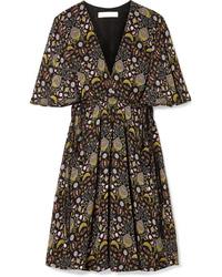 Robe droite à fleurs noire Chloé