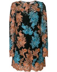 Robe droite à fleurs noire Dolce & Gabbana