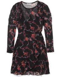 Robe droite à fleurs noire IRO