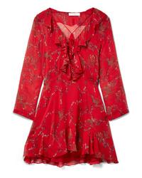 Robe droite à fleurs rouge IRO