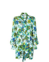 Robe droite à fleurs verte MSGM