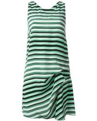 Robe droite à rayures horizontales blanc et vert Kenzo