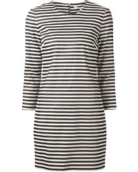 Robe droite à rayures horizontales blanche et noire