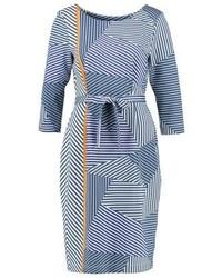 Robe droite à rayures horizontales bleu clair Expresso