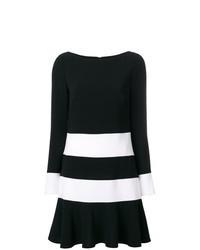 Robe droite à rayures horizontales noire et blanche