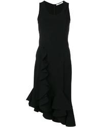 Robe droite à volants noire Givenchy