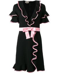 Robe droite à volants noire Gucci