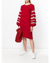 Robe droite brodée rouge P.A.R.O.S.H.