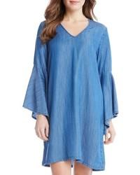Robe droite en chambray bleue