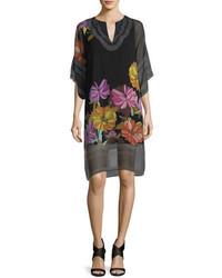 Robe droite en chiffon à fleurs noire