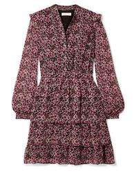 Robe droite en chiffon à fleurs rose