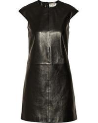 Robe droite en cuir noire